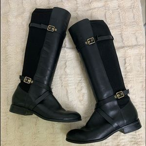Cole Haan Black Leather Stretch Riding Boots 8.5